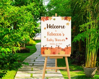 Pumpkin Baby Shower Welcome Sign - Custom Fall Baby Shower Welcome Large Poster Sign - Rustic Country Baby Shower Decor - DIGITAL FILES ONLY