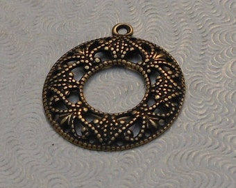 LuxeOrnaments Small Oxidized Brass Filigree Open Round Pendant 18mm (Qty 2) S-9170-B