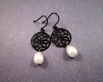Pearl Earrings, White Glass Pearls and Black Filigree, Gunmetal Silver Dangle Earrings, FREE Shipping U.S.