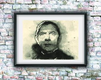 Dracula poster, watercolor, Bela Lugosi, digital art, horror movie, home decor, aquarelle,instant download, old cult movies, dark art movie