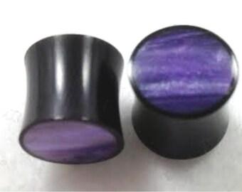 100% Handmade Organic Horn with Purple Resin Plugs