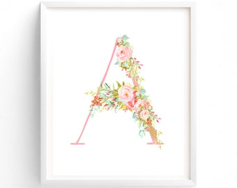 letter A, Rose Symphony Series, Printable Letter Monogram, Nursery Art. Art Prints, Baby Girl Nursery, Wall art Prints