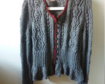 Knitting jacket Therese 40/42 knitted peplum knitted Grey