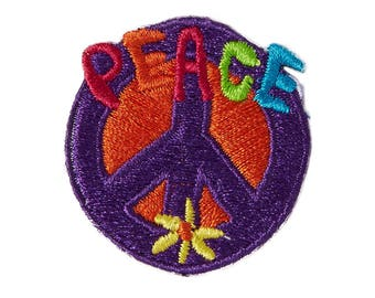 Peace Sign Iron On Applique, Peace Sign Iron On Patch, Bohemian Patch, Peace Applique, Peace Patch, Embroidered Patch