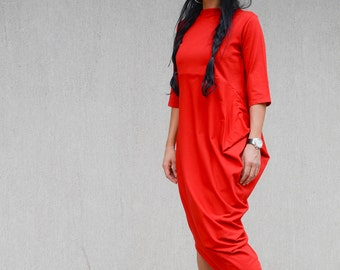 Asymmetrical red dress, loose red dress, party dress, casual dress, ankle dress, sizes from S to 3XL, plus size dress, summer dress