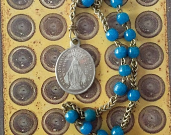 VINTAGE FRENCH CHAPLET Miraculous Religious Medal Glass Beads