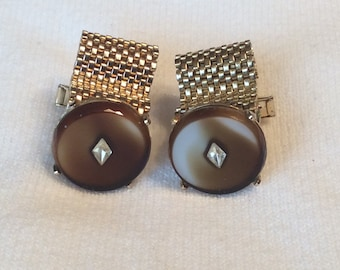 Mens Vintage Bold 1950's Brown Slag Glass and Rhinestone Mesh Cuff Links Gold Plated Modern Design