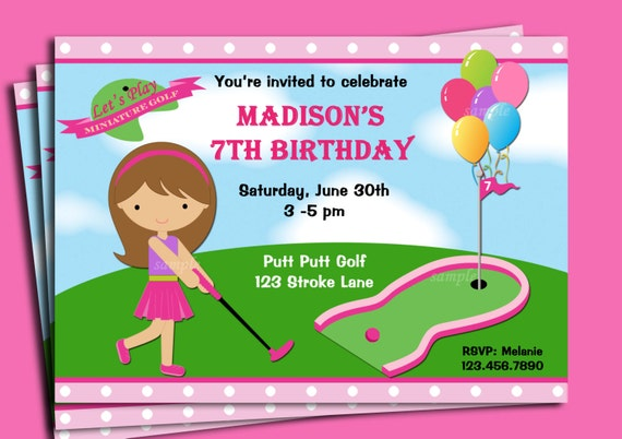 Girls golf invitation printable or printed with free girls golf invitation printable or printed with free shipping you pick hair colorlength skin tone miniature golf golf birthday party filmwisefo Choice Image