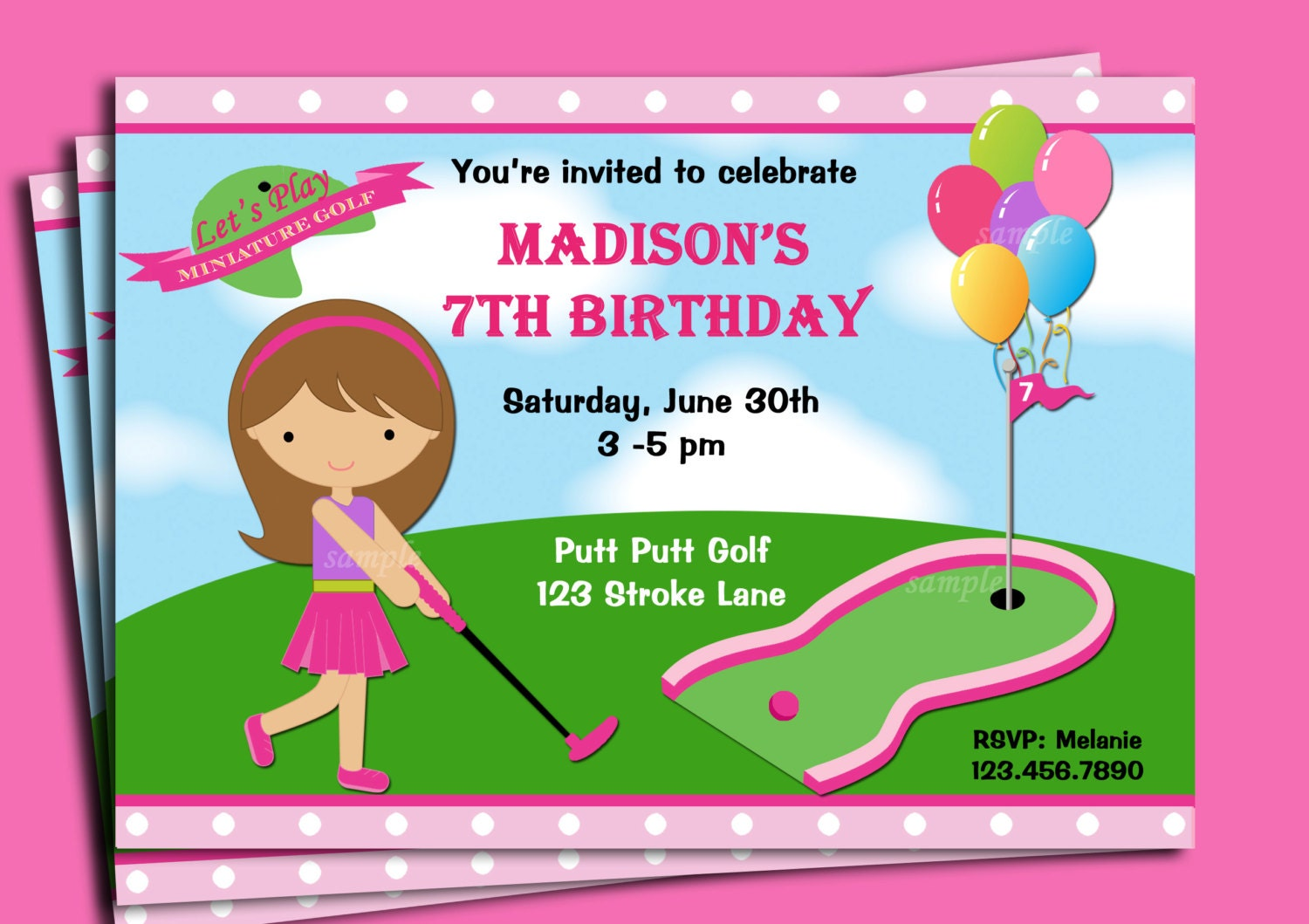 Girls golf invitation printable or printed with free zoom filmwisefo Choice Image
