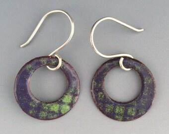 Copper Earrings - Hoop Earrings - Enamel Jewelry - Recycled - Handmade - Sassy - Colorful - Industrial - Boho Earrings - Gift for Her
