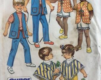 Simplicity 9184 childs pants, vest & poncho size 2 vintage 1970's sewing pattern