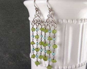 Peridot nugget chandelier earrings, handmade sterling silver and apatite shoulder dusting earrings