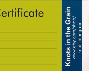Gift Certificate, Perpetual calendar gift certificate, wooden calendar gift certificate, personalized calendar gift certificate