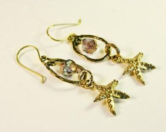 Artisan Starfish Earrings/Island Style/Artisan Beach Jewelry/Sundance Style/Gold Bronze Starfish & Czech Glass Earrings/Sealife Earrings