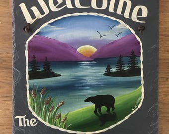 Hand painted Personalized Moose Bear Lake Mountain Slate Welcome Sign