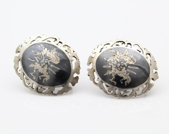 Vintage Siam Oval Button Screw-On Earrings in Sterling and Enamel. [7490]