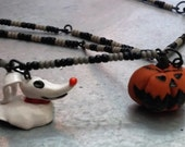 The Nightmare Before Christmas Zero and pumpkin Necklace