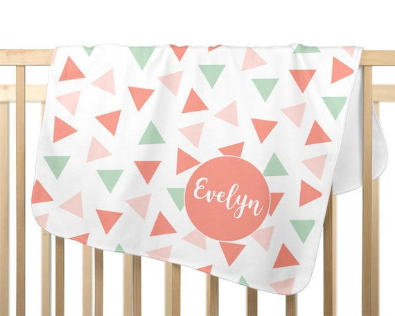 Blush Baby Blanket with Triangle Pattern; Personalized with Name