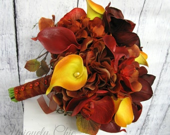Autumn Wedding bouquet, Orchid calla lily Fall bride bouquet, Red and orange bridal bouquet