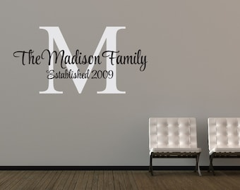 Personalized Family Name Decal Family Monogram Family Established Date Vinyl Wall Decal - Family Decor Custom Family Wall Decal : personalized family wall decals - www.pureclipart.com