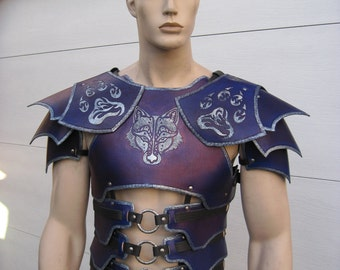 Leather Armor Tribal Wolf Dark Talon Chest Back & Shoulders