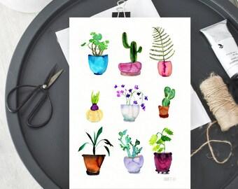 9 vergossen Pflanzen Wand-Kunst-Karte, botanische Kunst Druck von Aquarell von Annemette Klit. Pflanze-Illustration für die Dekoration
