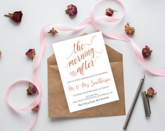 Post Wedding Brunch Invitation - Post Wedding Invitation - The Morning After - Rose Gold Wedding - Downloadable wedding #WDHSN8121