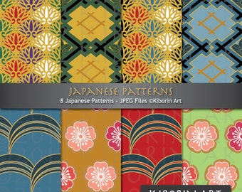 8 Japanese Patterns - Digital Papers