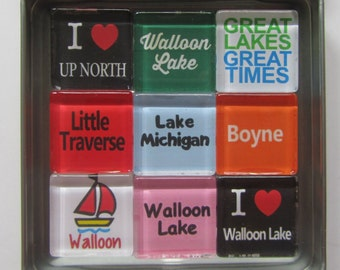 WALLOON LAKE Magnets, Harbor Springs, Charlevoix, Petoskey, Traverse City, Great Lakes, Up North, Michigan, Magnets