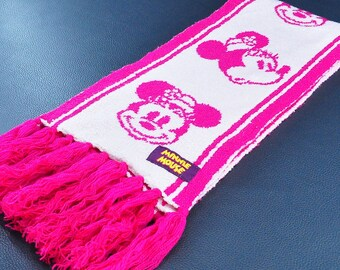 "Kids Scarf Mickey Mouse Scarf Walt Disney Tokyo Disney Resort Pink Color Acrylic Scarf 56"" X 6"""