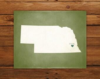 Customized Printable Nebraska State Map Art - DIGITAL FILE - Aged-Look Canvas Wall Art Print
