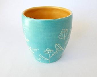 Handmade Cup, Ceramic Wine or Tea Cup, Turquoise Satin