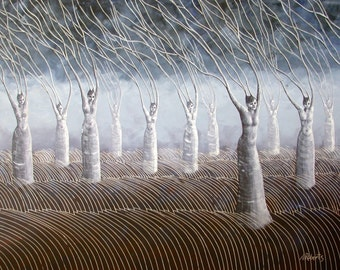 Women in the Wind Surreal Landscape Print, Fine Art Print, Stormy Skies, Fantasy Art