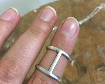 Artsy Simple Sterling Silver Double Band Ring