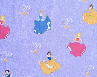 Disney Princesses- 100% Cotton Fabric With A Hint Of Glitter- Remnant 49.5cm x 112 cm Cinderella Belle Aurora Snow White FREE POST