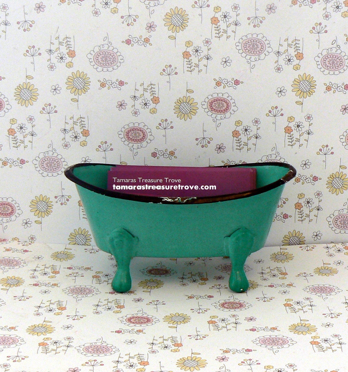 Mini Claw Foot Tub Business Card Cell Phone Holder Shabby Chic ...
