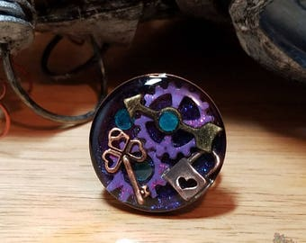 Purple Gears with Lock and Key Steampunk Ring
