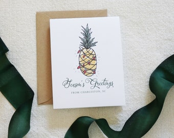 Box of 8 Charleston Holiday Card, Pineapple, Watercolor, Charleston Christmas Card Set, Holiday Cards, Modern Calligraphy, Home for Holidays