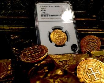 "Spain 1 Escudo 1516-56 ""Seville"" NGC 61 Pirate Gold Treasure Coins Doubloon Cob Shipwreck"