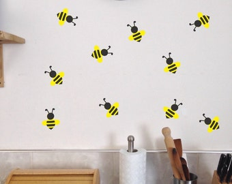 Bee Wall Decals Set of 10 Summer Kitchen Bedroom Playroom stickers removable bees Honey buzz buzzy cute bug  sc 1 st  Etsy : insect wall decals - www.pureclipart.com