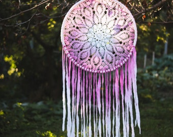 Extra Large Dream Catcher for Wedding or Nursery Decor - Giant Bohemian Decoration, White-Cherry, Tribal Decor, Crochet Dreamcatcher