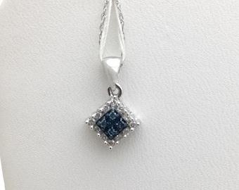 Blue and White Diamond Pendant - 10K White Gold 0.30 TCW
