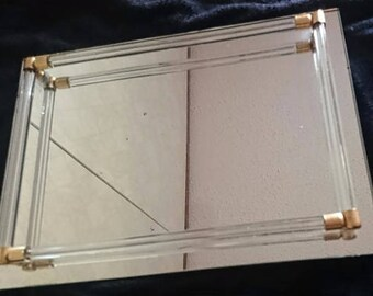 Vintage Holm Spray Mirror Vanity Tray w/ Lucite Rails, Perfume Tray, Counter Storage, Bathroom Decor, Perfume Tray, Jewelry Tray,