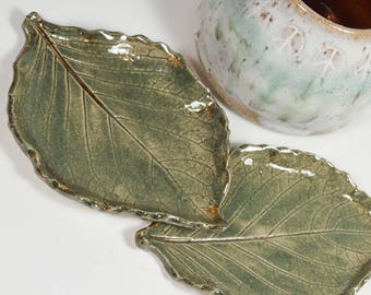 Leaf Pottery Ceramic - Set of Two Leaves - Spoon Rest - Tea Bag Rest - Ring Dish