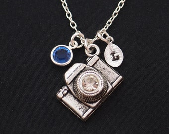 camera necklace, sterling silver filled, initial necklace, birthstone necklace, silver camera charm with crystal lens, photographer jewelry