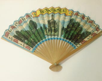 Vintage State of Tennessee souvenir Paper on Wood/Bamboo Folding Hand Fan