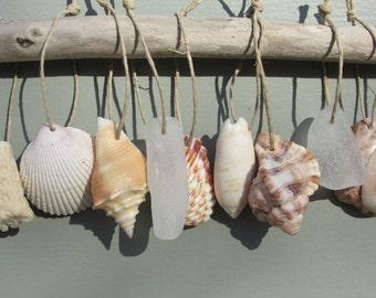 BEACH ORNAMENTS Sea Glass Shell Ornament Beachy Holiday Decor