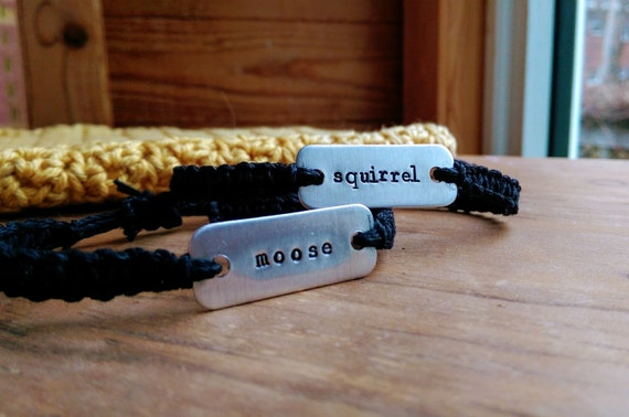 supernatural moose & squirrel stamped bracelets // set of two adjustable hemp bracelets