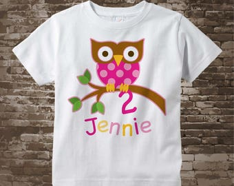 2 Year Old Owl Shirt, Pink Girl's Owl Age Shirt Personalized with Child's Name and age tshirt 12042017a