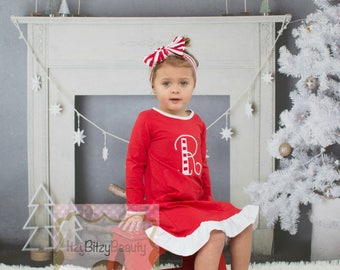 Girls Christmas Nightgown - Night Gown Ruffle Dress - Girls Christmas Pajamas -  Red And White Stripe - Embroidered Dress - Christmas Dress
